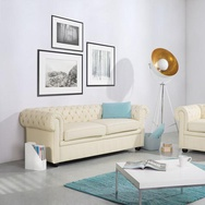 Divano vintage a 3 posti in pelle beige CHESTERFIELD