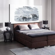 Letto boxspring in pelle marrone 160 x 200 cm PRESIDENT