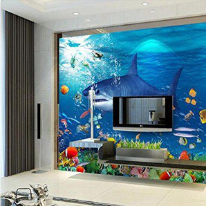 Malilove 3D Wallpaper Camera Personalizzata Parete Murale Sticker Shark Mare Azzurro Mare Foto 3D Pitture Murali Wallpaper