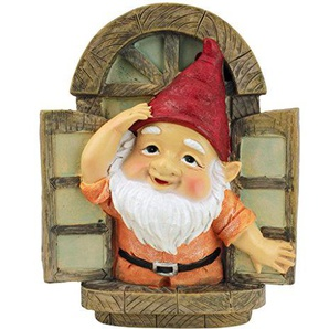 Design Toscano Garden Gnome Statue - Gnomi Knothole di benvenuto - Gnome Window Tree - Fairy Garden - Gnome Village