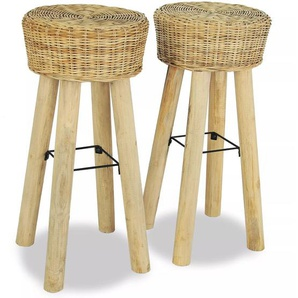 Set Sgabelli da Bar 2 pz 35x76 cm in Rattan Naturale