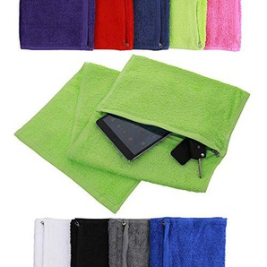 Aztex Deluxe Sports Gym Towel with Zip Compartment in Lime Green, 100% Egyptian Cotton by Towelsrus