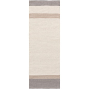 Tappeto passatoia in lana new_stripes Crema/Grigio 70x200 cm