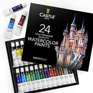 Castle Art Supplies, set di tubetti di pittura ad acquerello, per professionisti e principianti, set di 24 tubetti dai colori vivaci
