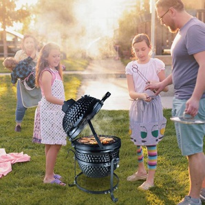 Outsunny Barbecue in Ghisa a Carbonella con Coperchio Nero 40.5x35x55cm}}