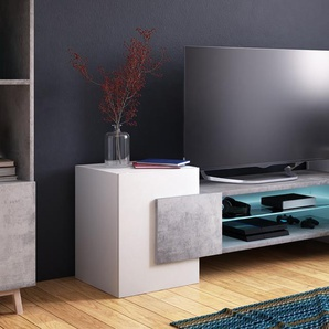 Mobile porta-TV Selsey Charles : Bianco - Cemento Led