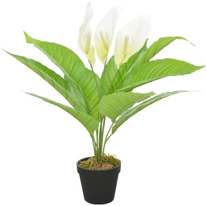 Anthurium Artificiale con Vaso Bianco 55 cm