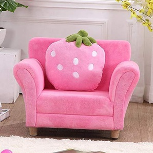 GuiPing Durevole Divano for Bambini Moda Cute Cartoon Cloth Art Strawberry Princess Sofa (Colore : Rosa)