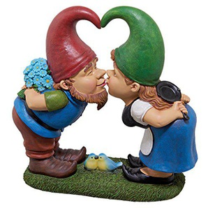 Design Toscano Garden Gnome Statua - Kiss and Tell Lover Gnomi - Prato Gnome