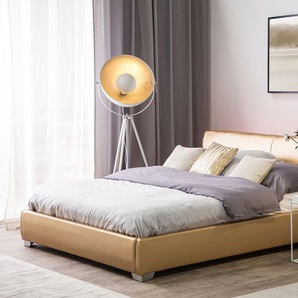 Letto matrimoniale in pelle oro con LED 160x200 cm PARIS