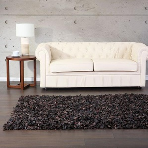Tappeto shaggy in pelle marrone - 140x200cm - MUT