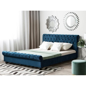 Letto matrimoniale in velluto blu stile chesterfield 180x200cm AVALLON