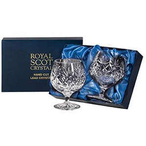 Royal Scot Crystal Kintyre set di 2 340,2 gram Crystal brandy cognac GLASSES | Scottish cristallo in una scatola di presentazione