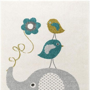 Tappeto bambino Fantasia Birdies and Elephant Azzuro 80x150 cm