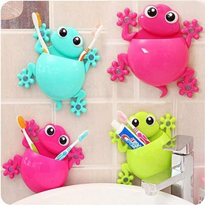 HTAIYN Lovely Cartoon Gecko Model Toothbrush Toeletta Toothpaste Holder Bagno Forniture per Il Bagno (Color : Rose)