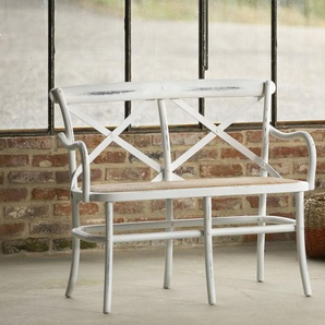 Panca Pampelune bianca in stile shabby chic