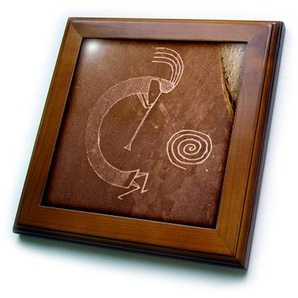 3dRose Pictographs of The Pueblo Indians, Native american-us32 awy0010-angel Wynn, 6 x 6, Legno/Ceramica, 8 x 20,3 cm Framed Tile