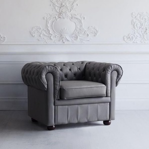 Poltrona vintage in pelle grigia CHESTERFIELD