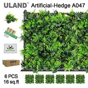 ULAND Foglie di edera Artificiale Pannelli, Green Bush pianta Arredamento, Outdoor Greenery fondale Wall, barriera Privacy Recinzione siepe Recinzione da Giardino, Confezione da Pezzi 50,8 x 50,8 cm