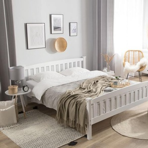 Letto king size in legno in color bianco, 160x200cm GIVERNY